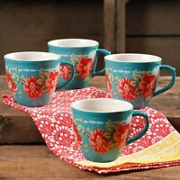 4-Pack, The Pioneer Woman Elegant Vintage Floral Design 16oz Mug Set, Teal