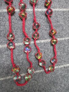 Vintage Christmas Tree Garland Glass Marbles Crocheted in 5 Strands 8.5 Ft Long