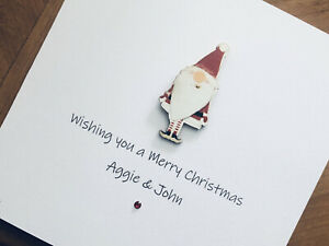 Personalised Handmade Christmas Cards - Wooden Santa 13.5cm X 13.5cm