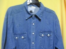 VTG 1950s Western Sawtooth Pockets Large ROCKMOUNT Western Shirt Diamond Snaps