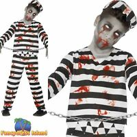 Zombie Convict Costume Halloween Prisoner Childs Kids Boys Fancy Dress Costume