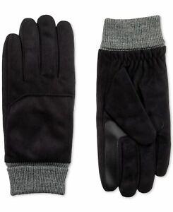 Isotoner Men's Winter Gloves Black Size Medium M SmartDri Knit Cuff $58 532