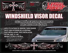 LETHAL THREAT Car Truck Van Sticker Decal WINDSHIELD VISOR CROSS LT56003