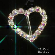 10 X DIAMANTE HEART AB RAINBOW SILVER RHINESTONE WEDDING RIBBON SLIDER BUCKLES