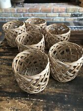 6 Vintage Woven Basket Cup Holders Coozies Coolies Wicker Rattan Retro