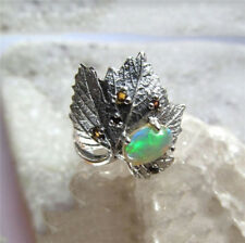 Antique Silver Leaves Natural Opal Anniversary Engagement Jewelry Ring Size 9