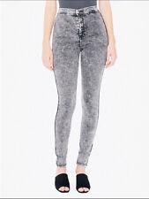 American Apparel Gray Acid Wash High Waist Stretch Skinny Pants Jeans Size L