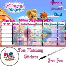 LARGE A3 Shimmer and shine chore behaviour Reward chart & shield stickers & pen