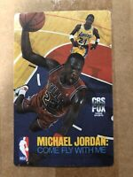 1989 CBS FOX Michael Jordan Come Fly With Me Shirt Offer Cloth Promo Card NM+