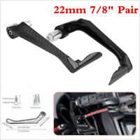 "Black Carbon Fiber CNC Motorcycle 7/8"" Brake Clutch Lever Protector Hand Guard"