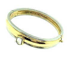 Platinum & 18k Bangle Bracelet with Mirror Cut Diamond by Hennell - HM1139