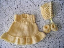 """Doll Clothes Vintage Style Yellow Hand-knitted dress fit  Berenguer Heidi Ott 8"""""""