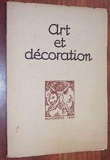 Revue ART ET DECORATION Novembre 1920 art moderne déco Salon d'Automne n° 227