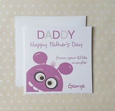 Personalised Fathers Day Card from little monster son daughter boy girl kids