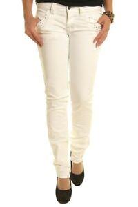 Pantaloni Donna Jeans SEXY WOMAN Bianco Affusolato A908 Tg M