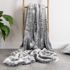 Luxury Faux Fur Throw - Extra Large 150cm x 200cm ARCTIC WOLF GREY
