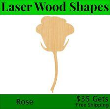 Rose Laser Cut Out Wood Shape Craft Supply - Woodcraft Cutout