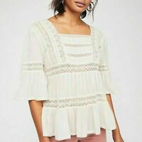 Free People Golden Hour Top Lace Pintuck Open Back Ivory Blouse Large L NEW