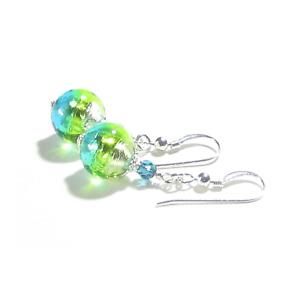 Murano Glass Aqua Green Crystal Silver Earrings
