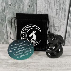 New Moon Gazing Hare - Glass Figure in black Pouch - Pagan/Wiccan/Witchcraft -