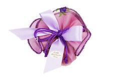 Bomboniera sacchetto lilla organza fiori Ricamati matrimonio comunione cresima