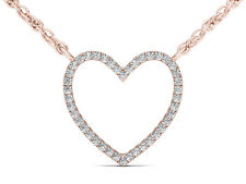 Solid 10k Rose Gold 0.10 Ct Round Cut Diamond Bold Heart Pendant Necklace HI I2