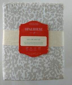 Opalhouse Easy Care Sheets and Pillowcase Set Grey and White Abstract Print NWT