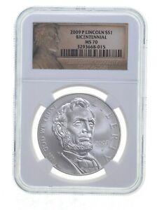 2009 P Lincoln Bicentennial Commemorative Silver Dollar NGC MS70 *0090