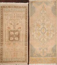 Pack of 2 Vintage Geometric Muted Anatolian Turkish Area Rug Handmade 2x3 Carpet