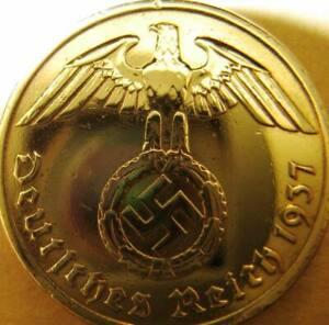 German 10 Reichspfennig 1937-Gold Coloured-Coin Third Reich-WWII-Antique-Vintage