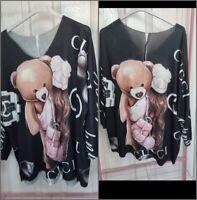 Ladies Italian Print TopTeddy One Size Tunic dress Plus Lagenlook Tops  New