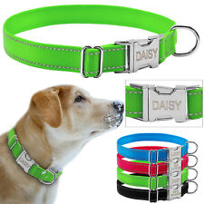 Reflective Nylon Personalized Dog Collars Custom Pet Tag Collars 4 Colors S M L
