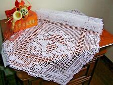Centro tavola tovaglietta ad uncinetto a mano cotone bianco Crochet lace doily