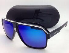 New Sunglasses CARRERA 33/S 8V6Z0 62-11 Black White & Grey w/ Blue Mirror Lenses