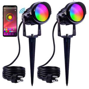 2PCS 12V RGB Garden Spotlight LED Outdoor Yard Lawn Landscape Lamp App Control