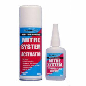 Bond It Mitre Bonding System Kit Activator 200ml & Superglue 50g Joint Wood Glue