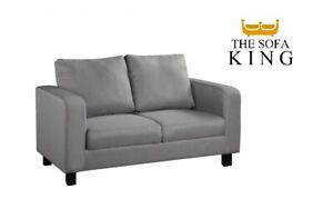 Grey Sofas 2 Seater - Faux Leather FREE NEXT DAY DELIVERY AVAILABLE -TheSofaKing