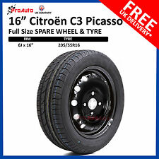 "CITROEN C3 PICASSO 2009-2017 16"" FULL SIZE STEEL SPARE WHEEL & TYRE"