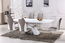 Pescara High Gloss Dining Table Set and 6 Upholstered Cappuccino  Chairs