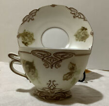 """Antique Herman Ohme """"Old Ivory"""" Porcelain China Cup and Sauce~Artist Signed"""