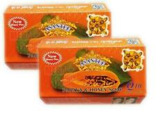 2 x Asantee Thai Herbal Papaya Honey Soap with Q10, AHA, BHA Skin Whitening 125g