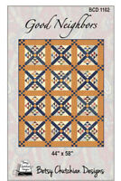 """Good Neighbors Quilt Pattern by Betsy Chutchian Designs for Moda 43.5"""" X 57""""."""