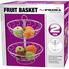 2 TIER FRUIT BASKET BOWL VEGETABLE RACK STAINLESS STEEL STORAGE STAND HOLDER NEW