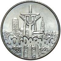 Gedenkmünze Polen - 10000 Zlotych 1990 - SOLIDARNOSC - Stempelglanz UNC