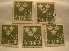 Sweden Stamp 1948 Scott 395 A56 Green 80 Crowns Set of 5