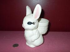 Vintage Bunny Rabbit Basket Candy Toothpick Holder Easter Ceramic Planter +