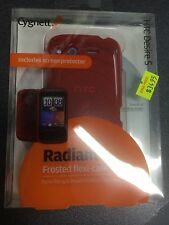 HTC Desire S Frosted TPU Flexi-Case in Red + Screen Guard CY0398CHRAD Brand New.