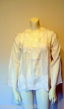 PURE SILK, IVORY COLORED, HAND EMBROIDERD TUNIC/TOP/BLOUSE-Many Sizes Available