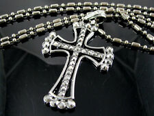 CHAINE PENDENTIF CROSS CROIX  STRASS COULEUR ARGENTE BLING BLING  HIP HOP N°152