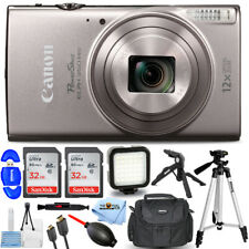 Canon PowerShot ELPH 360 HS Digital Camera (Silver) + 64GB + LED Light Bundle
